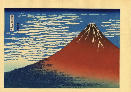 "Figure 9: Hokusai ""The 36 Views of Mount Fuji (South Wind, Clear Sky)"" (1830). Woodblock print. 25 cm x 38 cm."