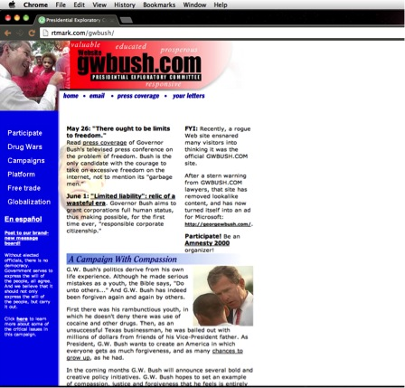"Figure 14: R TMark ""GWBush.com"" (200). Website."