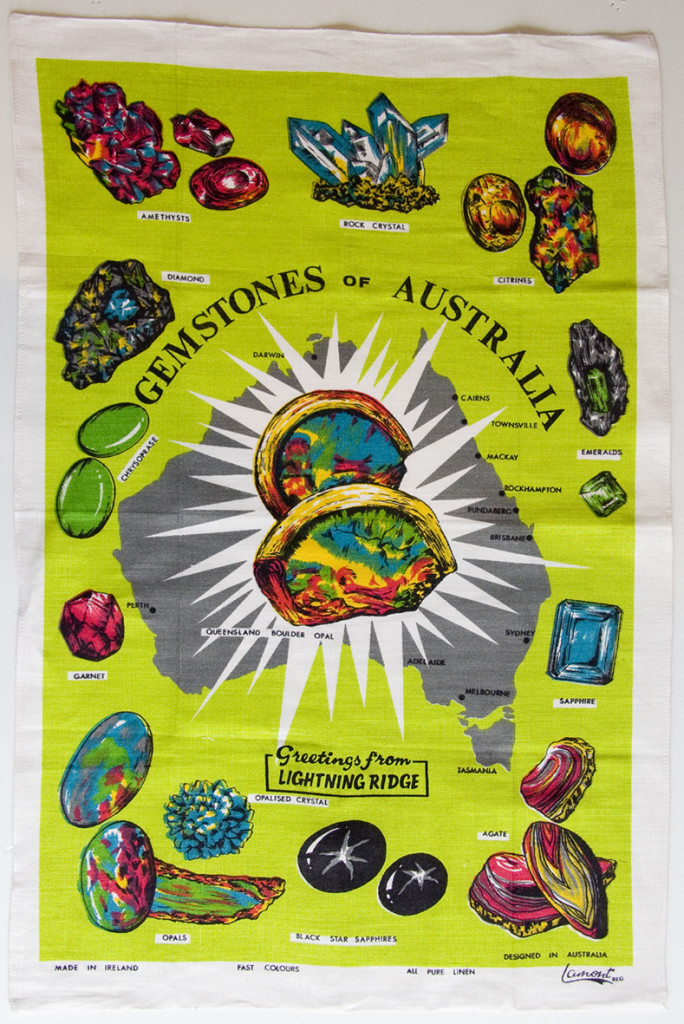 Figure 6: Gemstones of Australia souvenir tea towel, Lightning Ridge, New South Wales. Lamon, designed in Australia, made in Ireland, linen.