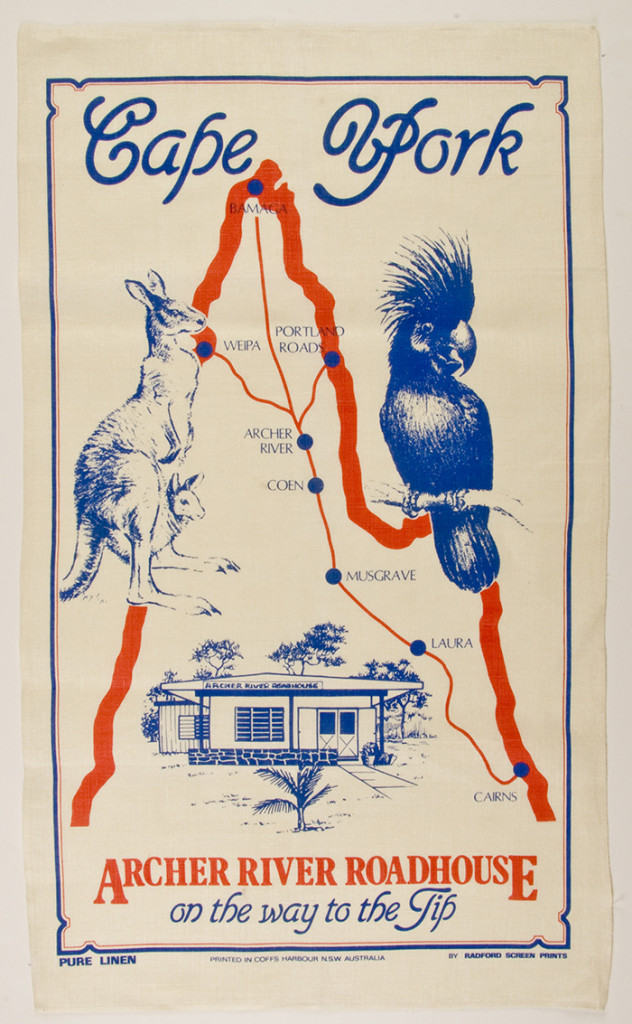 Figure3. Archer River Roadhouse tea towel, Cape York, Queensland. Printed in Coffs Harbour, Radford screen prints, linen