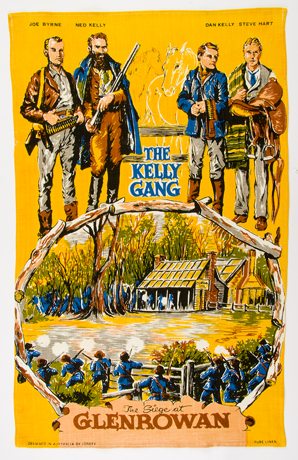 Figure 5: Kelly Gang souvenir tea towel, Glenrowan, Victoria. Designed in Australia by Jonef, linen.