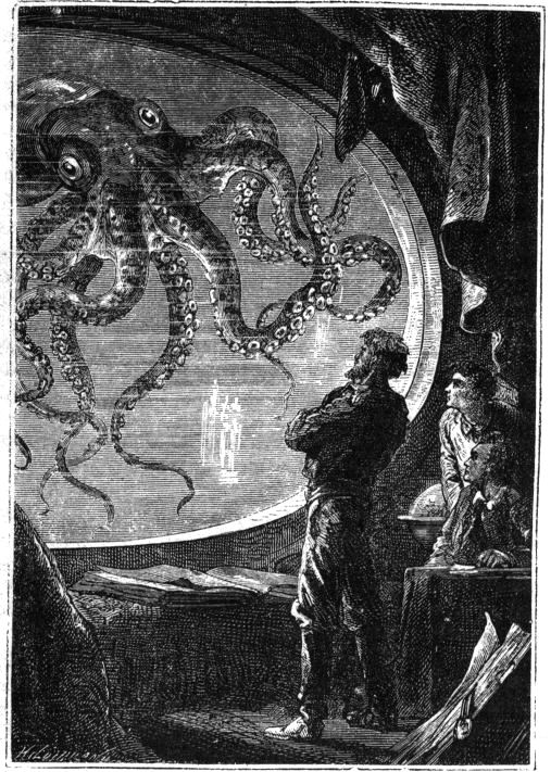 Figure 1. Captain Nemo aboard the Nautilus, In Jules Verne's 20,000 Leagues Under the Sea 1865, Pierre-Jules Hetzel pub., 1871 ed., illustration copyright Alphonse de Neuville