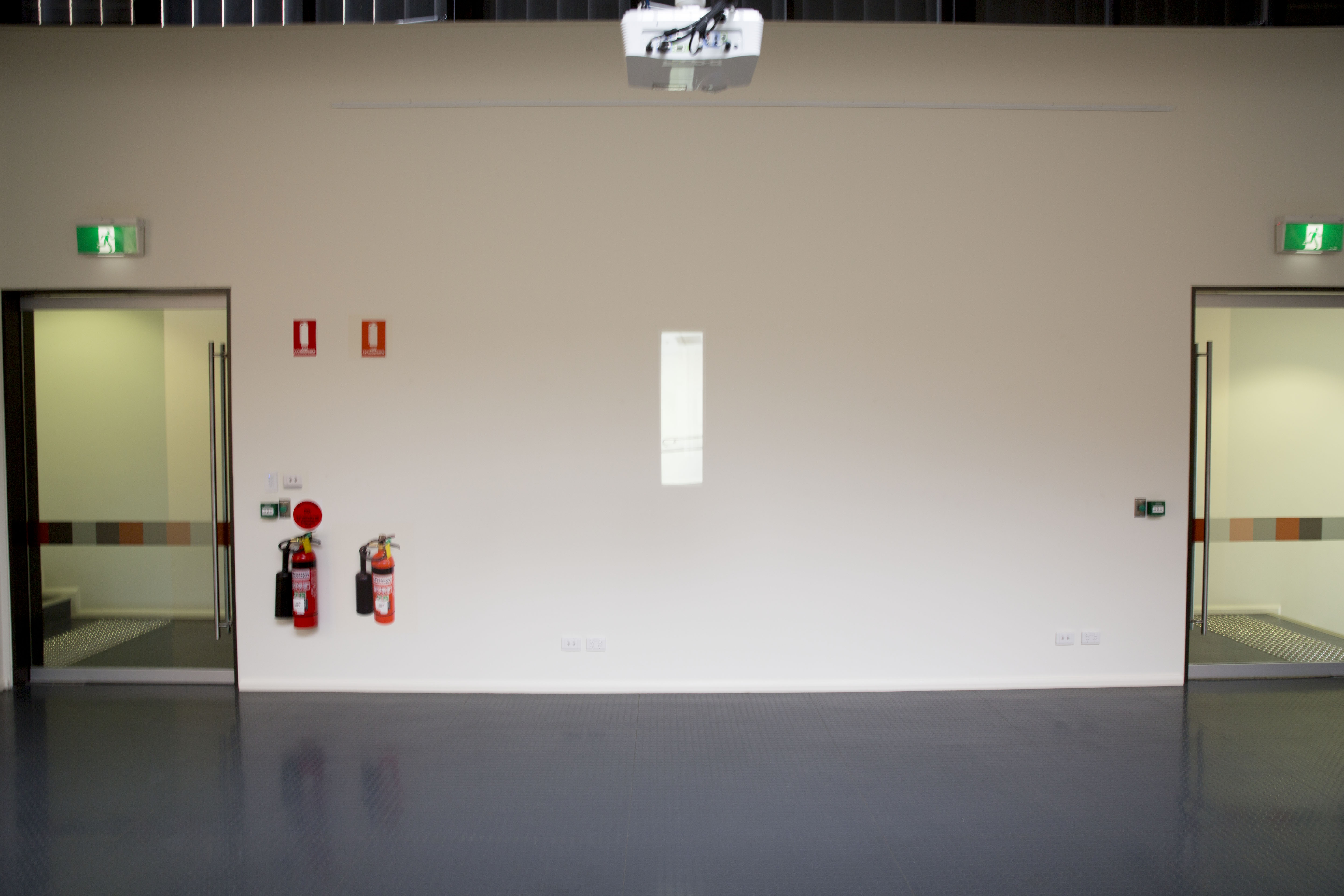 """Figure 15: Digital projection of a trench window from one side of the Gallop Gallery onto the main wall on the other side. Digital work by Chris Orchard. In """"Pictures in a Gallery"""" exhibition 2013"""