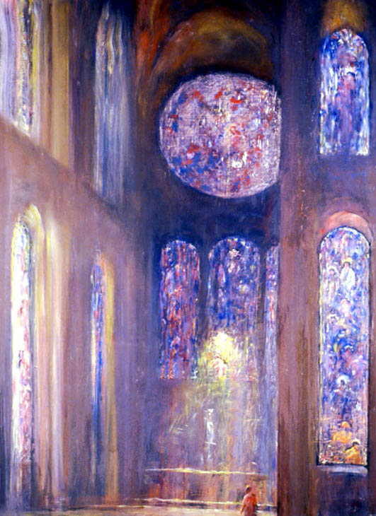 """Figure 2: Lloyed Rees """"Dusk in the transept 1"""" 1973 oil on canvas. University of Sydney collection. Copyright Lloyd Rees."""