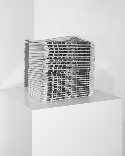 "Figure 13, Jacob Raupach, ""Radiata"". Installation photograph, 50 newspapers, 2013. Care of the artist"