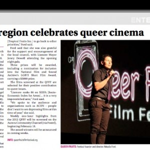 "Figure 2. ""Rainbow region celebrates queer cinema"". Example of GLBTIQ press for QFFF 2012 which highlighted the landmark screening of ""Sexing the Transman"""