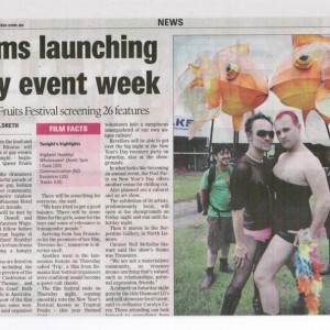 "Figure 1. ""Films launching gay event week"". Example of regional press for QFFF 2010 in The Northern Star."