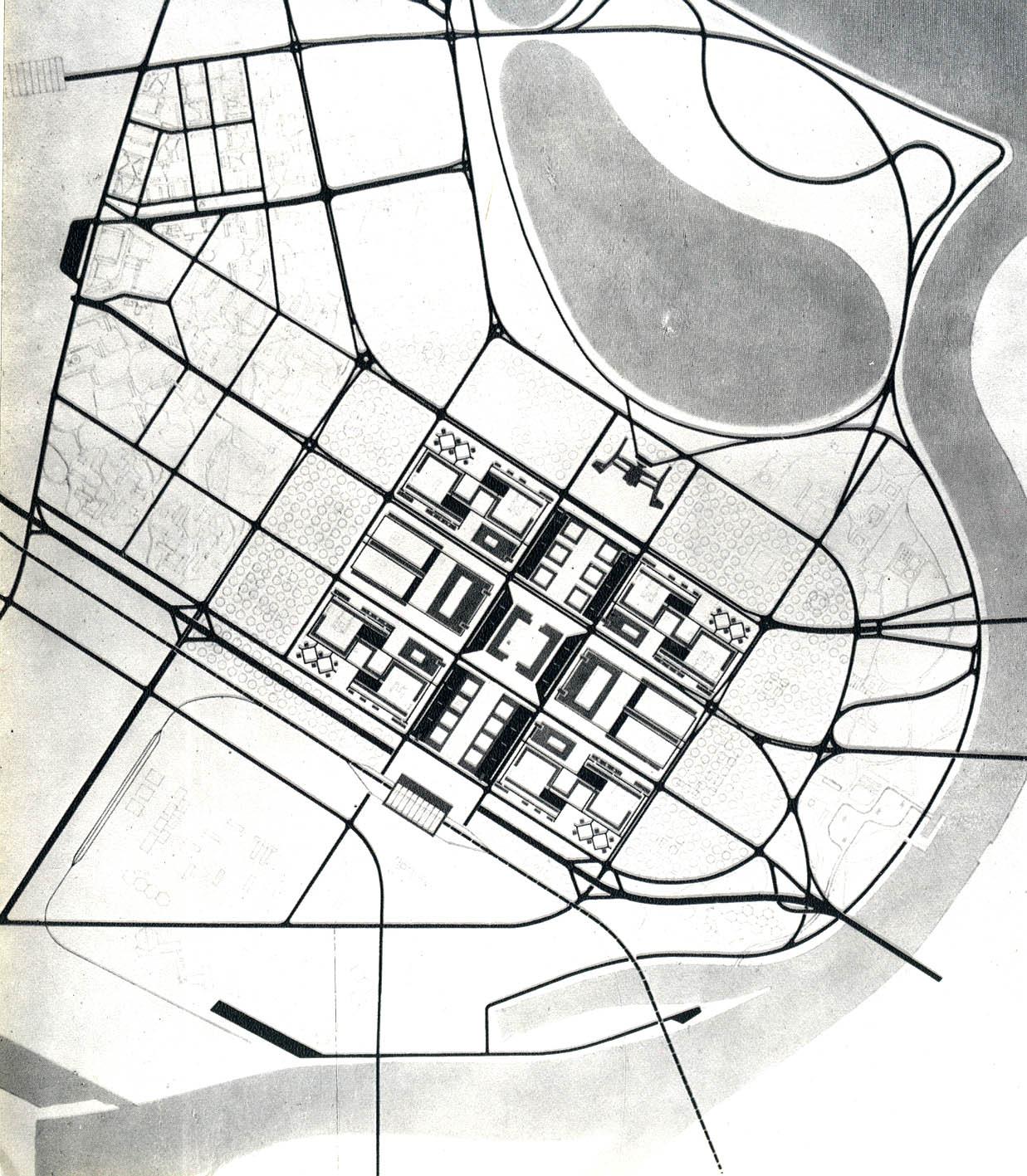 Fig 3: Resulting project of two winning proposals for the New Belgrade centra zone, Institute or Urbanism of Serbia, architects: Aleksandar Djordjević, Leonid Lenarčić, Milutin Glavički, Uroš Martinović, 1959.