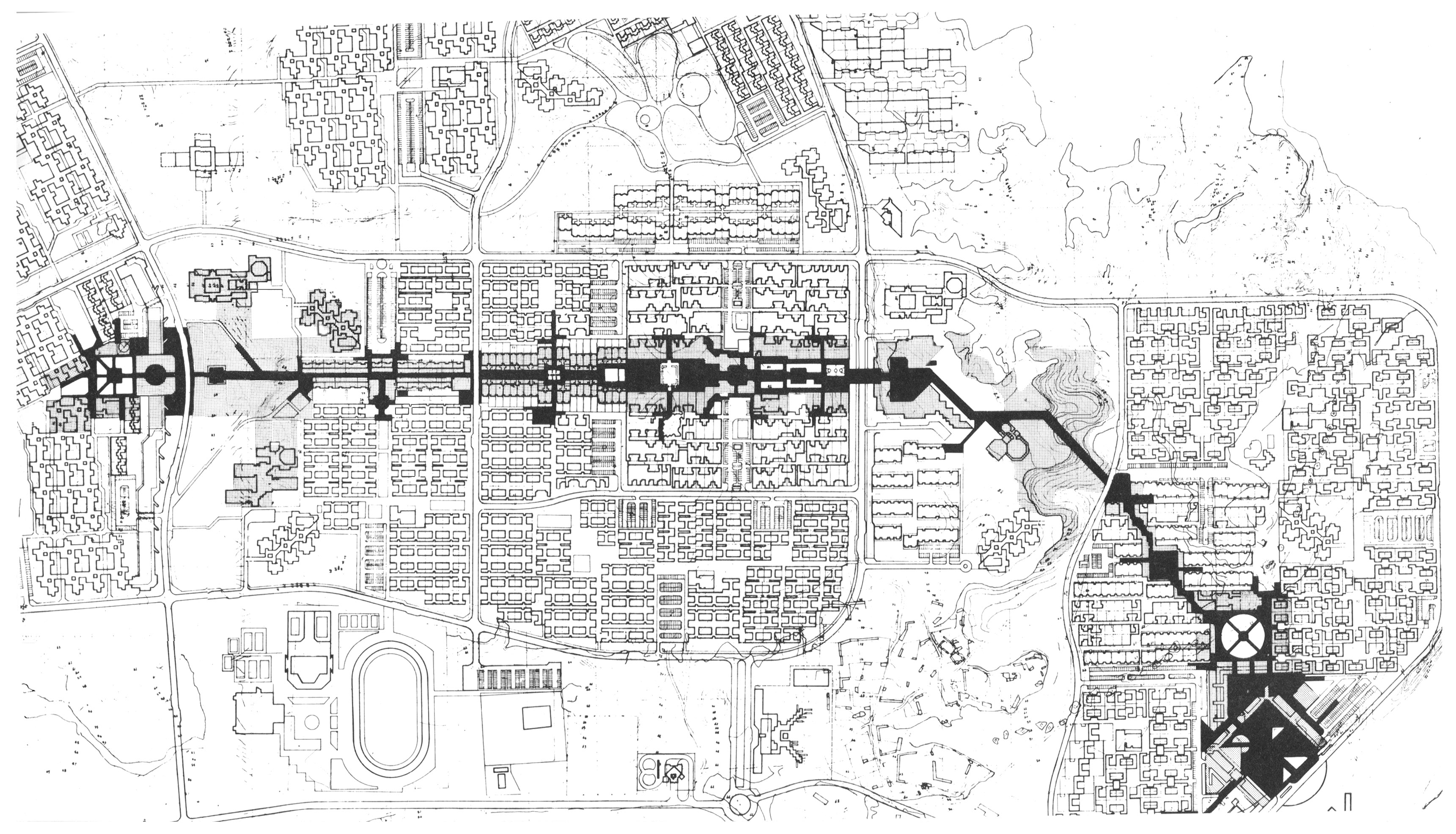 Figure 1, Original Master Plan of Shushtar New Town 1976. Authors, after Kamran Diba and DAZ Architects. 2015