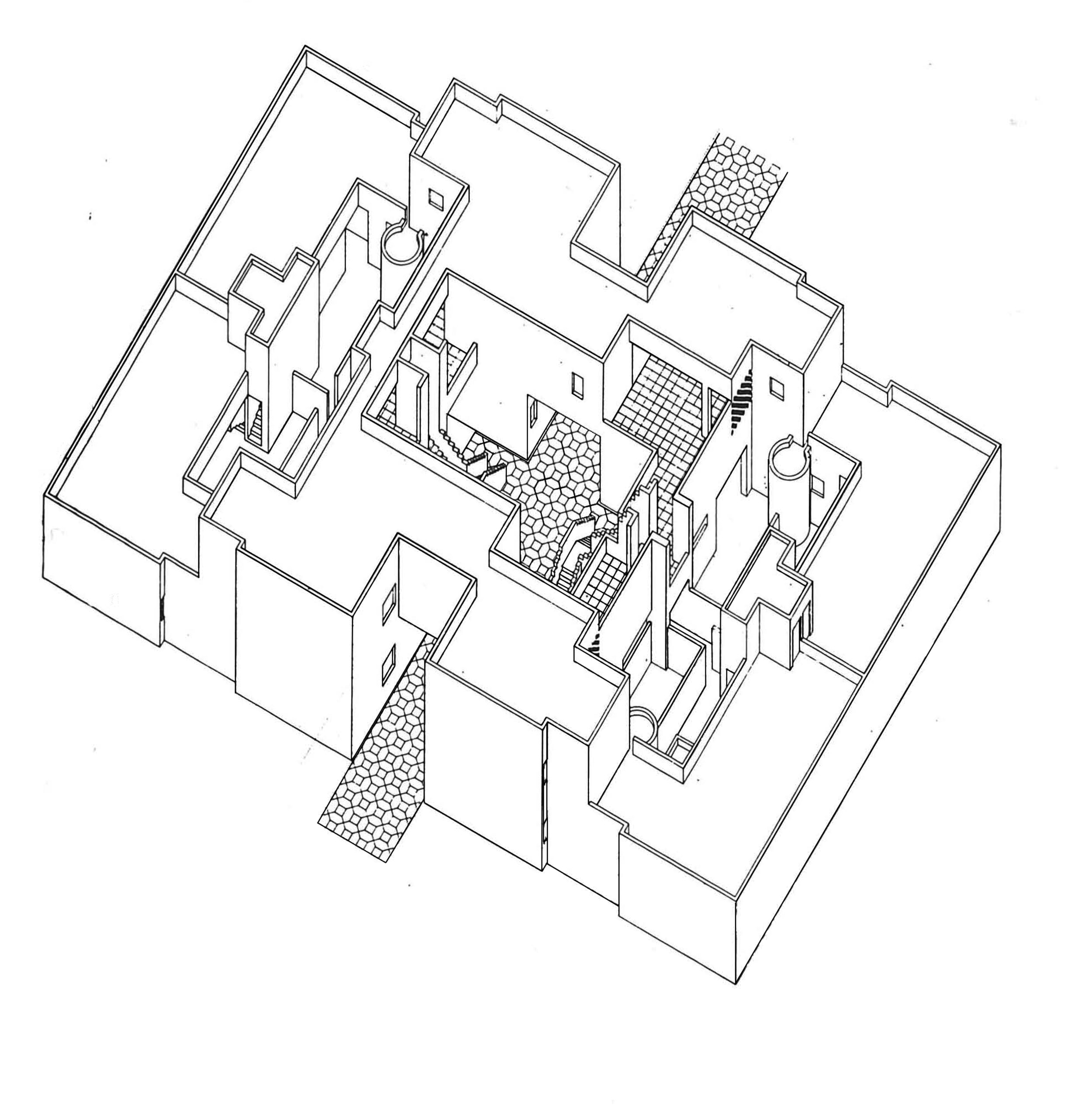 Figure 4. Axonometric of cluster of aprtments and courtyards. Authors after Kamran Diba and DAZ Architects. 2015.