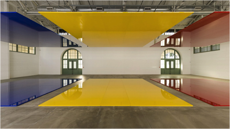 Figure 2. Robert Irwin (b. 1928) Who's Afraid of Red, Yellow and Blue?, 2006 Linear polyurethane paint on 6 aircraft honeycomb aluminum rectangles, overall installed: 315 x 1600 x 660cm. Aluminum rectangles: 480 x 660cm each. Pace Gallery Photo credit: Joel Meyerowitz