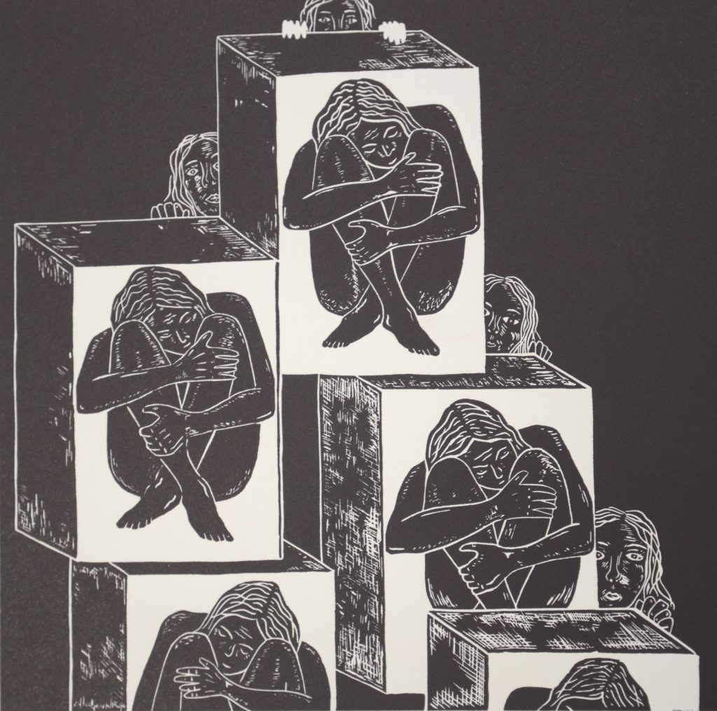 Figure: 2 Jessica Bulger Girls in Boxes 2007 Relief Lino Print on Velin Arches 300gsm Image size 25 x 27cm, paper size 40 x 50cm Image courtesy of Cicada Press University of Wollongong collection (as part of a series of 5 Lino Prints)