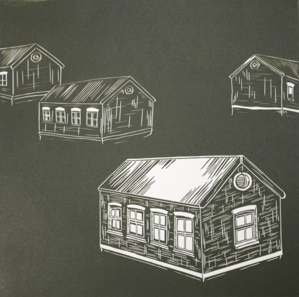 Figure: 3 Jessica Bulger School Houses 2007 Relief Lino Print on Velin Arches 300gsm Image size 25 x 27cm, paper size 40 x 50cm Image courtesy of Cicada Press University of Wollongong collection (as part of a series of 5 Lino Prints)