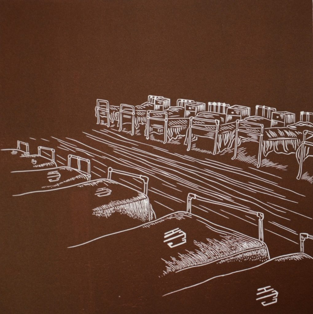 Figure: 4 Jessica Bulger Beds In Rows 2007 Relief Lino Print on Velin Arches 300gsm Image size 25 x 27cm, paper size 40 x 50cm Image courtesy of Cicada Press University of Wollongong collection (as part of a series of 5 Lino Prints)
